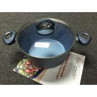 China Aluminum Cookwares Non-stick marble coating-blue coating Casserole with lid on sale