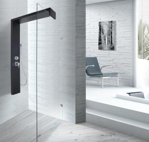 Cheap Black Shower Column 1500 X 900 Shower Enclosure With Double Clip SS Flexible Hose for sale