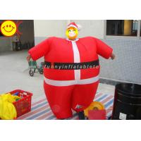 Cheap Nylon Lightweight Advertising Costumes , Red Inflatable Santa Costume With Fabric Material for sale