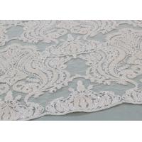 Cheap Ivory Sequin Lace Fabrics , Embroidered Bridal Lace Fabrics For Wedding Dresses for sale