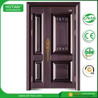 Cheap indian house main gate designs fancy steel doors single and half metal door leaf with copper handle wholesale