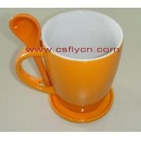 Cheap Ceramic Mugs/Cups with spoon for sale