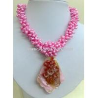 Cheap dyed red color freshwater pearl necklace for sale