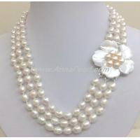Cheap white freshwater pearl necklace with mother shell pearl clasp for sale