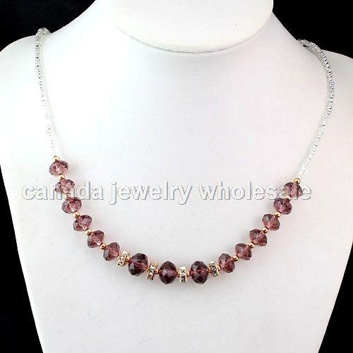 Necklaces fashion jewelry crystal beads necklaces of for Bulk jewelry chain canada