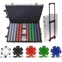 Cheap 1000 Striped Dice Poker Chip Set with Trolley Case for sale