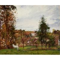 Impressionist(3830) Landscape_with_a_White_Horse_in_a_Meadow,_L-Hermitage