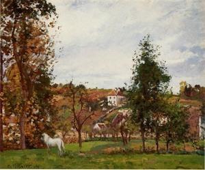 Quality Impressionist(3830) Landscape_with_a_White_Horse_in_a_Meadow,_L-Hermitage wholesale