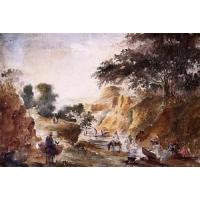 Cheap Impressionist(3830) Landscape_with_Figures_by_a_River for sale