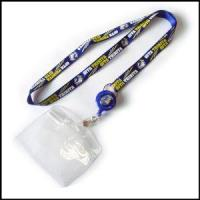 Cheap Blue Nylon Activity Item Lanyard with Bulldog Clip and PVC Card Holder for sale
