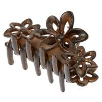 Medium Dark Wood Flower Hair Claw