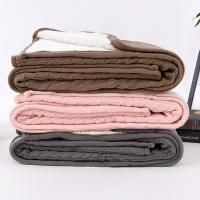 Buy cheap Acrylic blanket knitted acrylic wool blanket with sherpa bulk buy from china from wholesalers