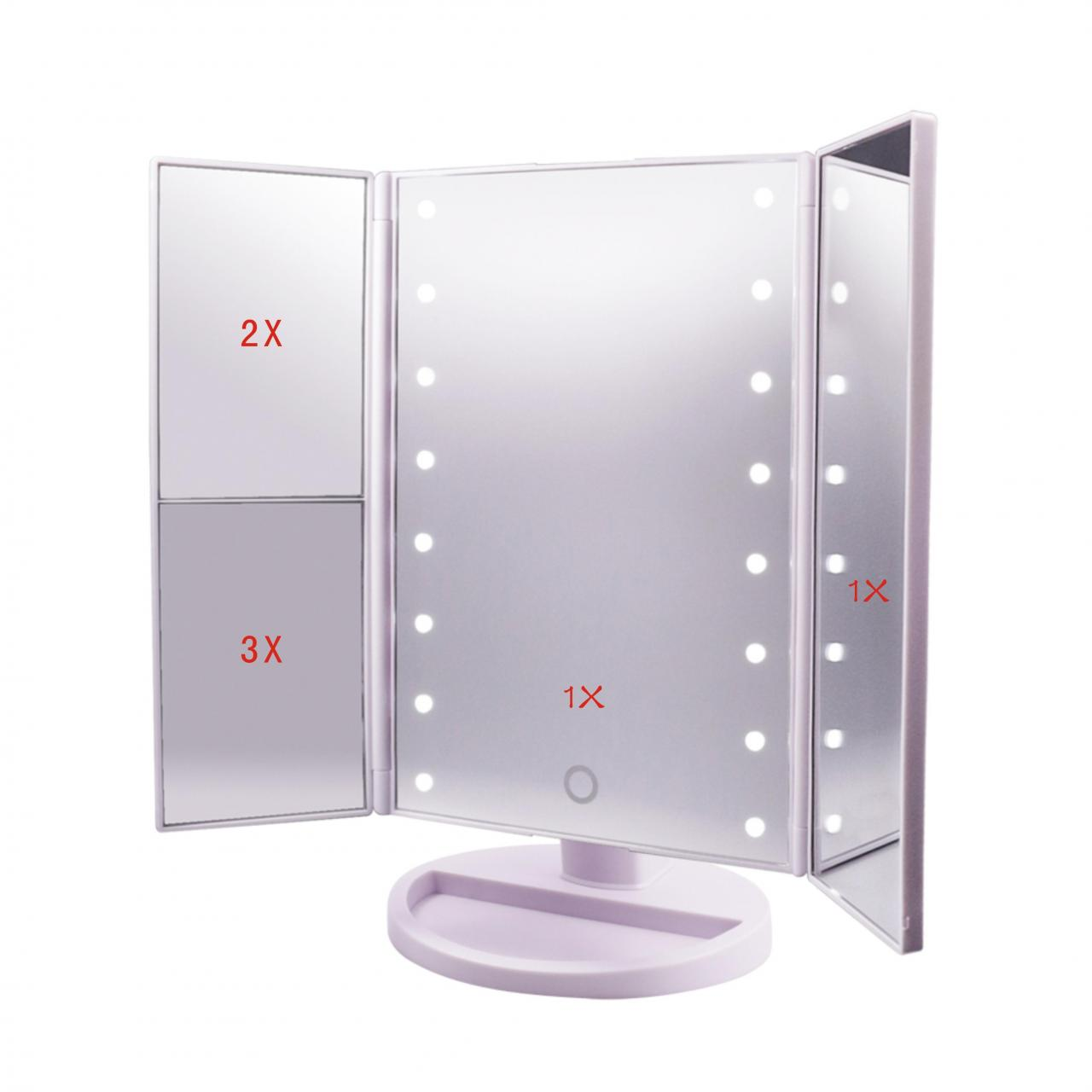 Cheap Tri-Fold Illuminated cosmetic mirror rectangular vanity mirror with lights,3X/2X/1X Magnification for sale