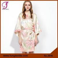 China Fung 3016 Pastel Color Bridesmaid satin Floral Robe In Champagne on sale