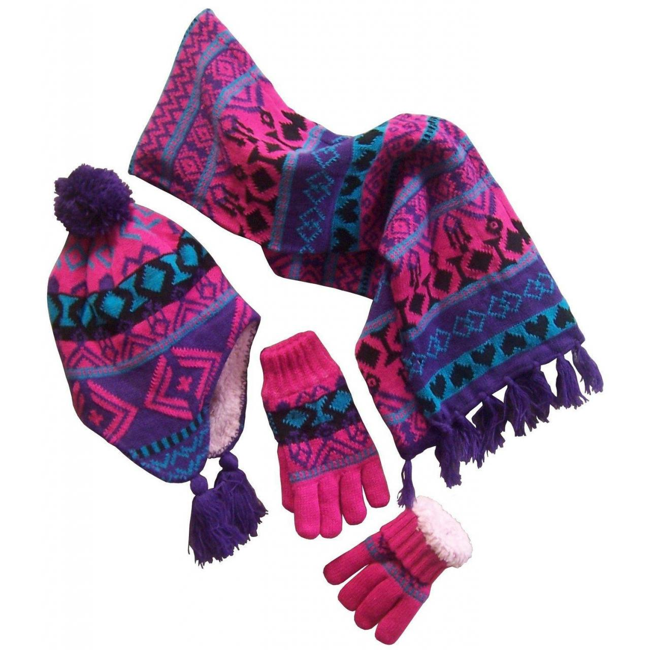 Cheap jacquard knitting knitted caps gloves scarves set for sale
