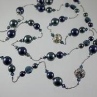 Cheap Necklaces Shades of Blue Silk Swarovski Crystal Necklace N578 for sale