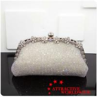 Buy cheap PU Ladies Evening Bags Covered by Rhinestone with Pearl Lock from wholesalers