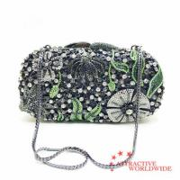 Buy cheap PU Leather Women Evening Bag Covered with Flower Rhinestones from wholesalers