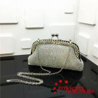 Buy cheap Ladies Mesh Grid Leather Evening Handbags with Rhinestones-boarded from wholesalers