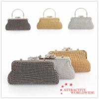 Buy cheap PU Leather Ladies Mesh Grid Evening Handbags with Bowknot from wholesalers