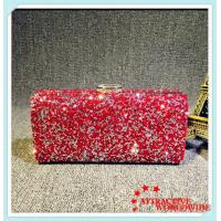 Buy cheap PU Leather Ladies Rectangular Evening Bags Clutches with Shining Rhinestone from wholesalers