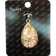 Acrylic Beads New! Teardrop Pendant with Stone Chips 98026