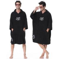 Cheap 100% cotton terry surf poncho hooded towel black color with embroidered logo for sale