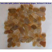 Cheap Machine-made Stones 2 side sliced, yellow pebble tile for sale