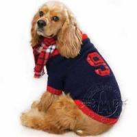Cheap Dog toys Thick & Soft English Knit Rugby Sweater with Plaid Scarf for Dogs for sale