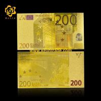 China Gift Money colored Euro 200 24K Gold Foil Banknote on sale