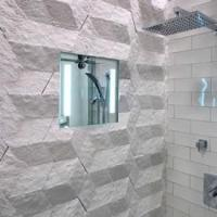 China Kimball & Young 62012 Showerlite Clear Lighted Heated Fog-Free Shower Mirror 12x12 1X Magnification on sale