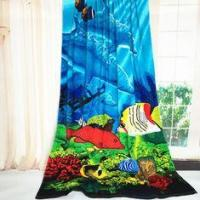 China Dolphin Oversized Beach Towels Blanket Two Sea Floor Pattern Sheets on sale