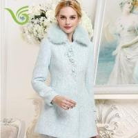 China Women Coats Women lace jacquard slim coat,winter warm coat, fur collar coat on sale