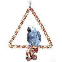 Cheap KinTor Medium Triangle Rope Swing Bird TOY Parrot Cage Toys Cages Conure African Grey for sale