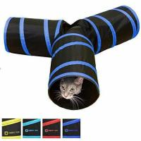 Cheap Tunnel of Fun, Collapsible 3-way Cat Tunnel Toy with Crinkle Medium, Dark Blue for sale