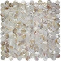 Cheap Round Mother Of Pearl Bathroom Tiles Fresh Water Seashell Decor 2mm Thickness for sale