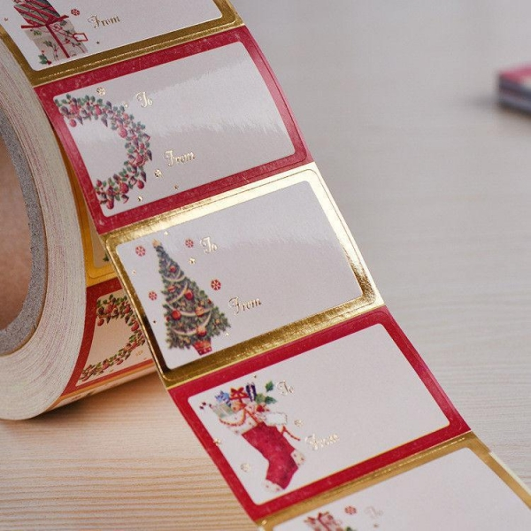 Quality Shinny Gold Foil Line Custom Label Stickers Hot Melt Adhesive Sticker wholesale