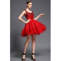 Red Tulle Beads Homecoming Short Dress F1525