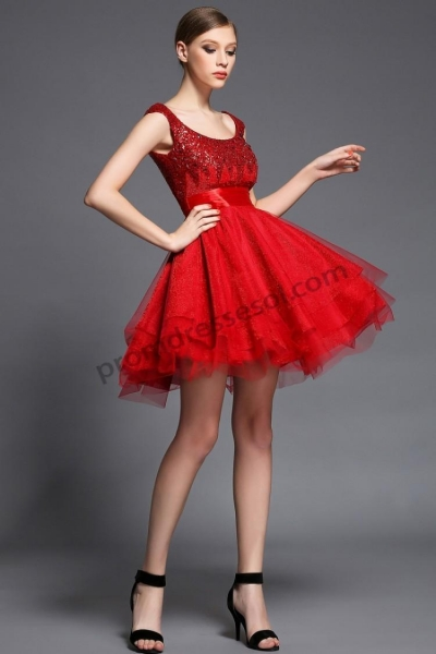 Quality Red Tulle Beads Homecoming Short Dress F1525 wholesale