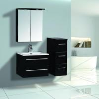 Cheap 600mm Black High Glossy Bathroom Furniture With Mirror Cabinet for sale