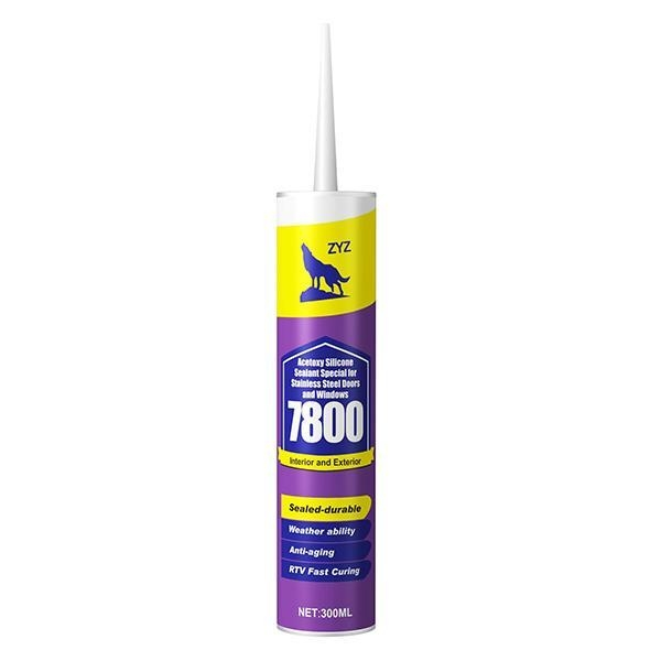 China ZYZ-7800 Acetoxy Silicone Sealant Special for Stainless Steel Doors and Windows