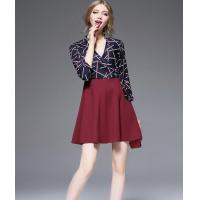 Cheap The autumn of 2016 hit color Chiffon Dress Dress stitching slim skirt collar V for sale