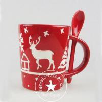 Cheap Christmas Ceramic Wholesale Christmas Reindeer Ceramic Mug With Spoon Supplier for sale