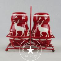 Cheap Christmas Ceramic Christmas Reindeer Ceramic Slat N Pepper With Metal Stand Wholesale for sale