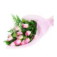 China Perfect Wrapped Long-Stemmed Pink Roses on sale