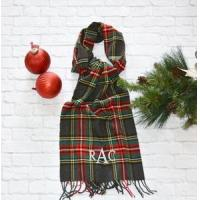 Cheap Monogrammed Plaid Scarf - Charcoal Red & Green for sale