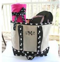 China Monogrammed Canvas Totes - Black & White Polka Dots on sale