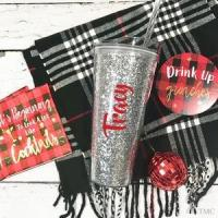 Cheap Personalized Acrylic Tumber - Silver Glitter for sale
