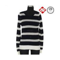 Cheap Ladies knitted sweater with hole and stripe pattern for sale