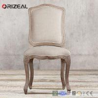 Cheap Orizeal Antique French Camelback Fabric Side Chair with Natural Solid Wood Legs for sale